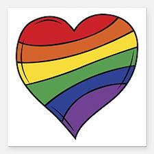 "Rainbow Heart Square Car Magnet 3"" x 3"""
