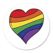 Rainbow Heart Round Car Magnet