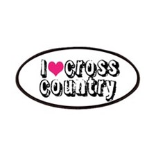 PINK i heart (love) cross country Patches