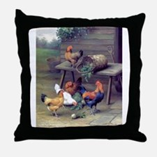 Rooster Turnip Farm Throw Pillow