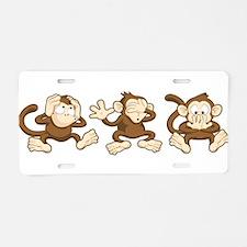 No Evil Monkey Aluminum License Plate