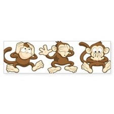 No Evil Monkey Bumper Bumper Sticker