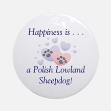 Happiness is...a Polish Lowland Sheepdog Ornament