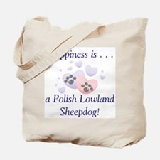 Happiness is...a Polish Lowland Sheepdog Tote Bag