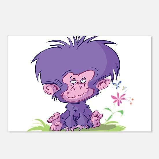 Purple Cartoon Monkey Postcards (Package of 8)