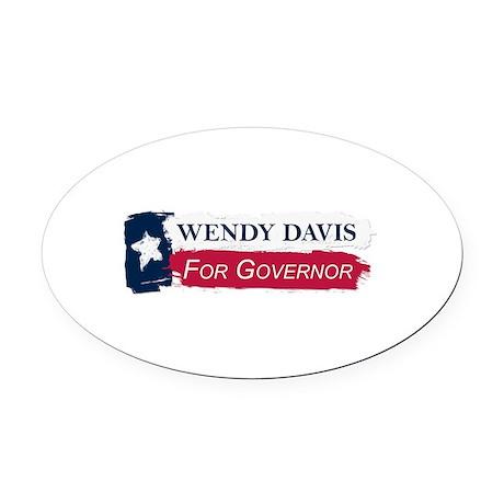 Wendy Davis Governor Texas Flag Oval Car Magnet