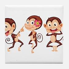Trio of Monkeys Tile Coaster