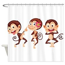 Trio of Monkeys Shower Curtain