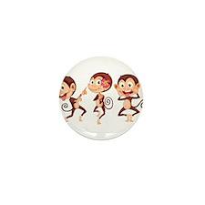 Trio of Monkeys Mini Button