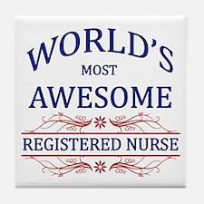 World's Most Awesome Registered Nurse Tile Coaster