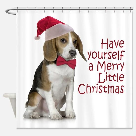 Santa Beagle Shower Curtain