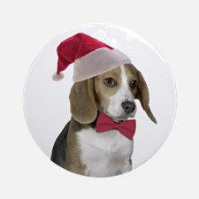 Beagle Santa Ornament (Round)
