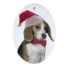 Beagle Santa Ornament (Oval)