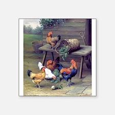 """Unique Birds rooster Square Sticker 3"""" x 3"""""""
