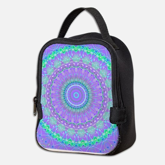 Funky Fresh Purple Mandala Neoprene Lunch Bag