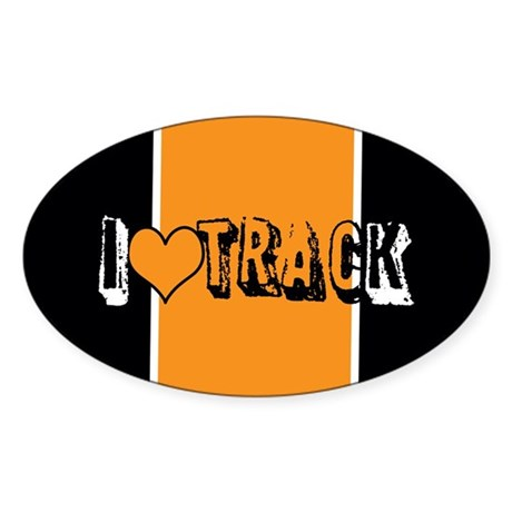 I heart (love) track Sticker (Oval)