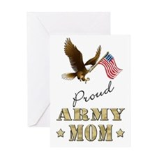 Proud Army Mom - Eagle Flag Greeting Card
