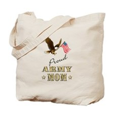 Proud Army Mom - Eagle Flag Tote Bag
