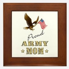 Proud Army Mom - Eagle Flag Framed Tile