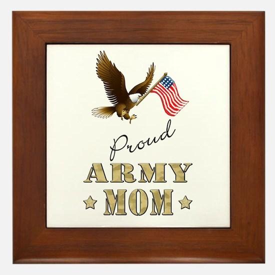 Proud Army Mom - Eagle Flag Framed Tile