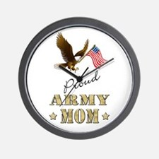 Proud Army Mom - Eagle Flag Wall Clock