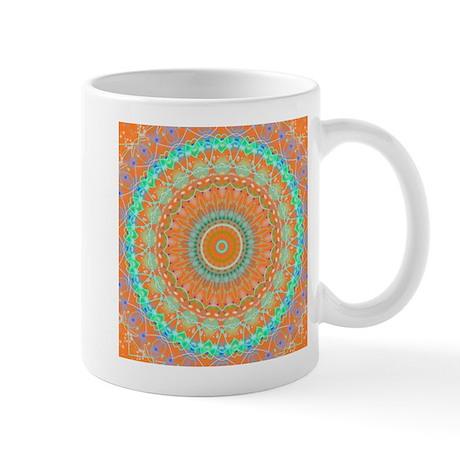 Bright Fun Orange Mandala Small Mug