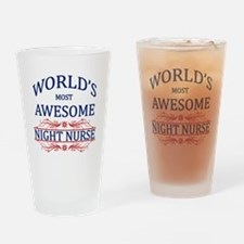 World's Most Awesome Night Nurse Drinking Glass