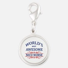 World's Most Awesome NICU Nurse Silver Round Charm