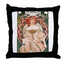 Mucha Paris woman in pink dress Throw Pillow