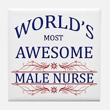 World's Most Awesome Male Nurse Tile Coaster