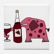 Pink Elephant Drinking Wine Tile Coaster