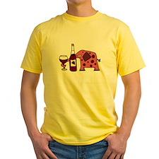 Pink Elephant Drinking Wine T-Shirt
