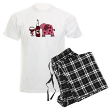 Pink Elephant Drinking Wine Pajamas