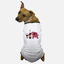 Pink Elephant Drinking Wine Dog T-Shirt