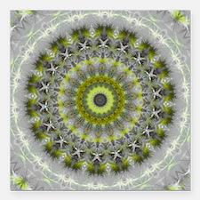 Green Earth Mandala Kaleidoscope pattern Square Ca