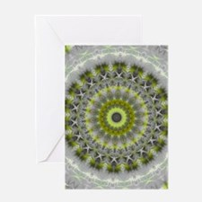 Green Earth Mandala Kaleidoscope pattern Greeting