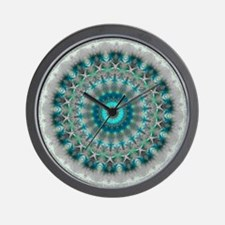 Blue Earth Mandala Wall Clock