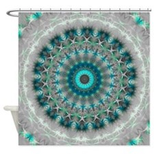 Blue Earth Mandala Shower Curtain