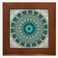 Blue Earth Mandala Framed Tile