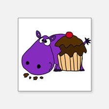 Hippo Eating Cupcake Sticker