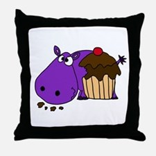 Hippo Eating Cupcake Throw Pillow