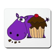 Hippo Eating Cupcake Mousepad