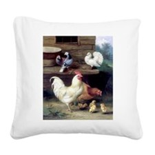 Rooster chicks and pigeons Square Canvas Pillow