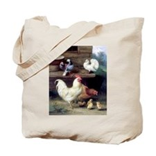 Rooster chicks and pigeons Tote Bag