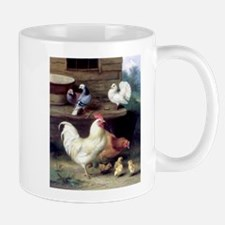 Rooster chicks and pigeons Mug
