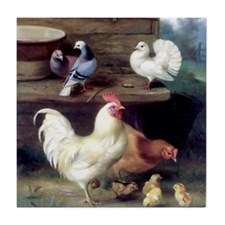 Rooster chicks and pigeons Tile Coaster