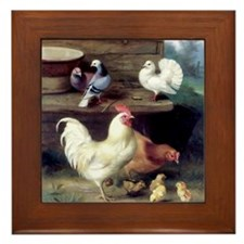 Rooster chicks and pigeons Framed Tile