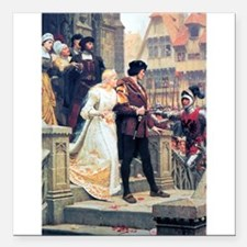 Medieval church wedding painting Square Car Magnet