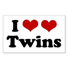 I Love Twins Rectangle Decal