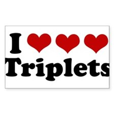 I Love Triplets Rectangle Decal